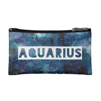 Aquarius Zodiac Star Sign Blue Galaxy Print Makeup Bag