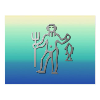 Aquarius Zodiac Star Sign In Light Silver Postcard