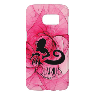 Aquarius Zodiac Star Sign in Pink and Black Samsung Galaxy S7 Case