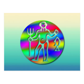 Aquarius Zodiac Star Sign Rainbow Postcard