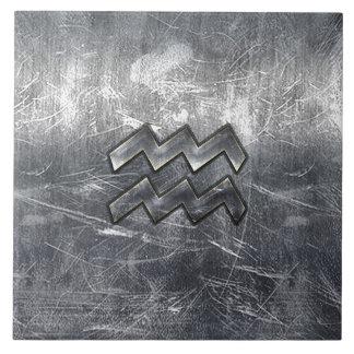 Aquarius Zodiac Symbol Distressed Silver Steel Ceramic Tiles