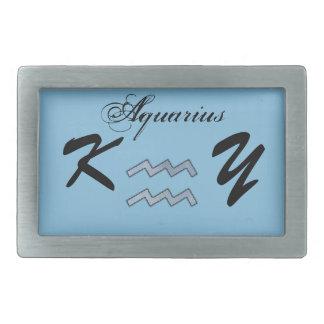 Aquarius Zodiac Symbol Element by Kenneth Yoncich Rectangular Belt Buckle