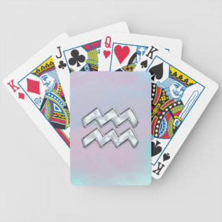 Aquarius Zodiac Symbol on Mother of Pearl Decor Poker Deck
