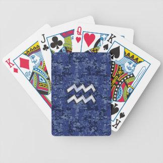 Aquarius Zodiac Symbol on navy blue digital camo Bicycle Playing Cards