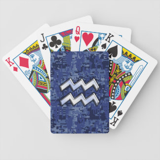 Aquarius Zodiac Symbol on Navy Digital Camouflage Poker Deck