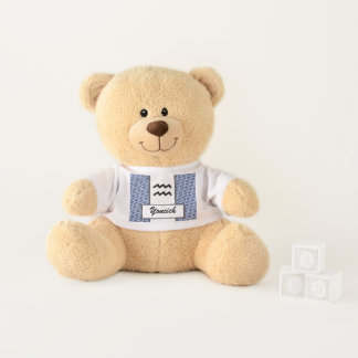 Aquarius Zodiac Symbol Standard by K Yoncich Teddy Bear