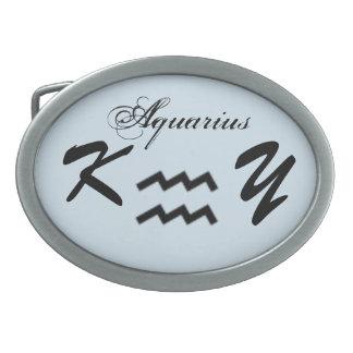 Aquarius Zodiac Symbol Standard by Kenneth Yoncich Oval Belt Buckles