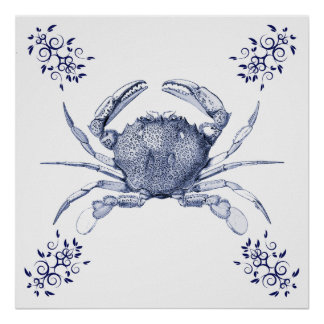 Aquatic Art ~ Pacific Ocean Common Crab Poster