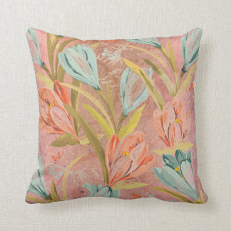 Aquatic Crocus Lila Brush Pink Orchidea Flowers Throw Pillow