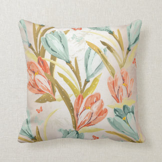 Aquatic Crocus Lila Peach Pastel Orchidea Flowers Throw Pillow