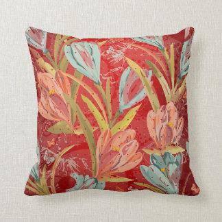 Aquatic Crocus Lila Red Shiny Orchidea Flowers Throw Pillow