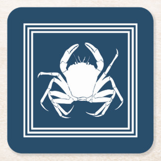 Aquatic design square paper coaster