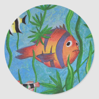 aquatic life classic round sticker