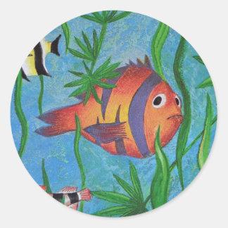 aquatic life round sticker