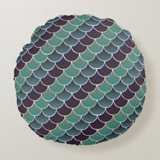 Aquatic Scales Round Pillow