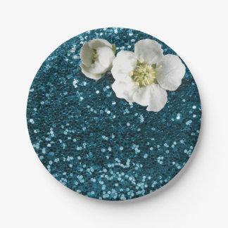 Aquatic Tiffany Blue White Jasmine Glitter Paper Plate
