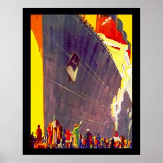 Aquitania Departing Poster