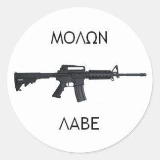 AR15 Molon Labe stcker Round Sticker