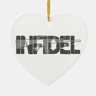 AR-15 INFIDEL Gun Rights Pro American Ceramic Heart Ornament