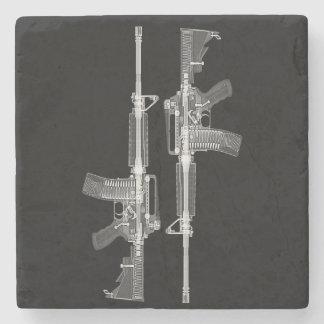 AR-15 rifle X-ray from real gun Stone Coaster
