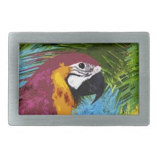 Ara parrot rectangular belt buckles