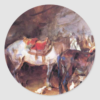 Arab Stable by John Singer Sargent Round Sticker