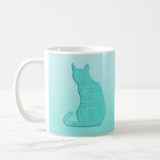 Arabesque Cat - shades of turquoise Coffee Mugs