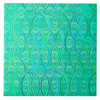 Arabesque Damask - Aqua and Turquoise Tile