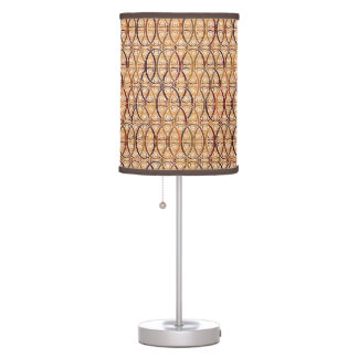 Arabesque damask - brown and camel tan table lamp