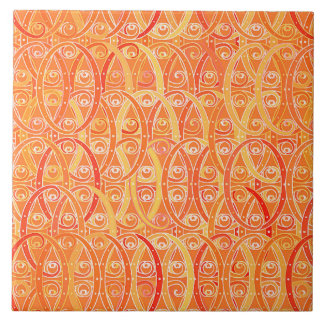 Arabesque Damask, Soft Orange and Coral Tile