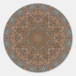 arabesque design classic round sticker