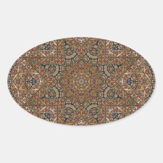 arabesque design oval sticker