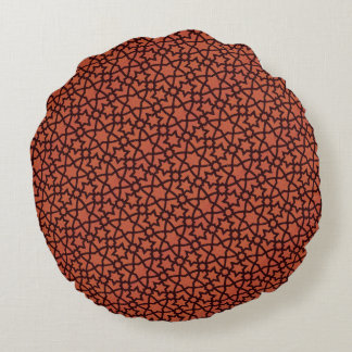 Arabesque in Rust and Black Round Pillow