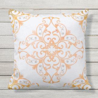 Arabesque in watercolor tangerine outdoor pillow