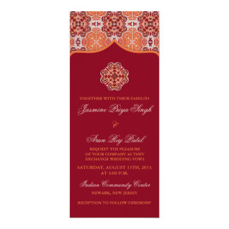 Arabesque Orange Red Indian Wedding Tea Length Card