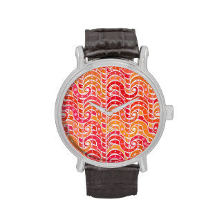 Arabesque waves, pink, coral and gold wristwatches