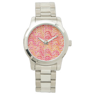 Arabesque waves, pink, coral and gold wrist watches