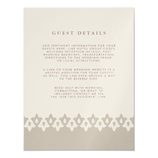 Arabesque Wedding Guest Details Card | Champagne