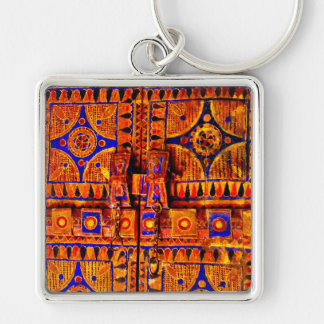Arabian Door Silver-Colored Square Keychain