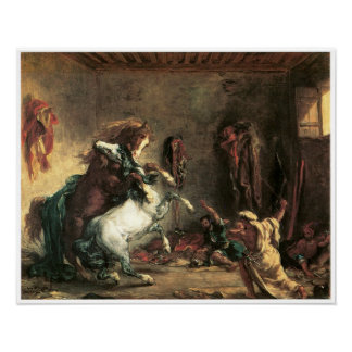 Arabian Horses Fighting in a Stable, Delacroix Poster