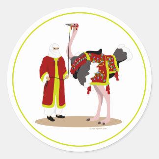 Arabian Native Costume Ostrich Round Sticker