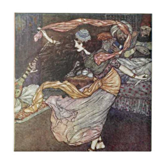 Arabian Nights Dancing Girl with Scarves Illustrat Tile