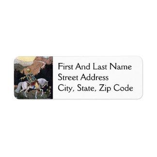 Arabian Nights Knight Prince on White Horse Return Address Label