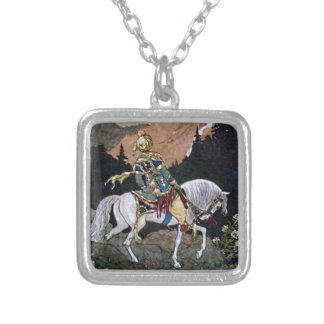 Arabian Nights Knight Prince on White Horse Silver Plated Necklace