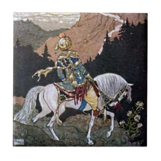 Arabian Nights Knight Prince on White Horse Tile