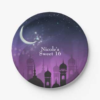 Arabian Nights Moroccan Middle Eastern Purple 7 Inch Paper Plate