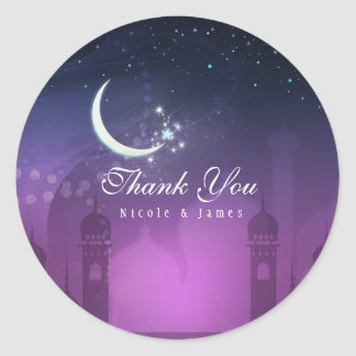Arabian Nights Moroccan Middle Eastern Purple Classic Round Sticker