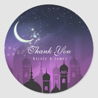 Arabian Nights Moroccan Middle Eastern Purple Classic Round Sticker