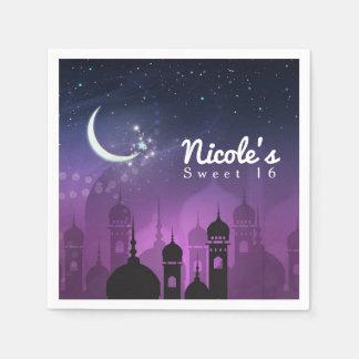 Arabian Nights Moroccan Middle Eastern Purple Paper Napkin