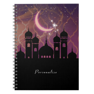 Arabian Nights Moroccan Middle Eastern Purple Pink Spiral Notebook